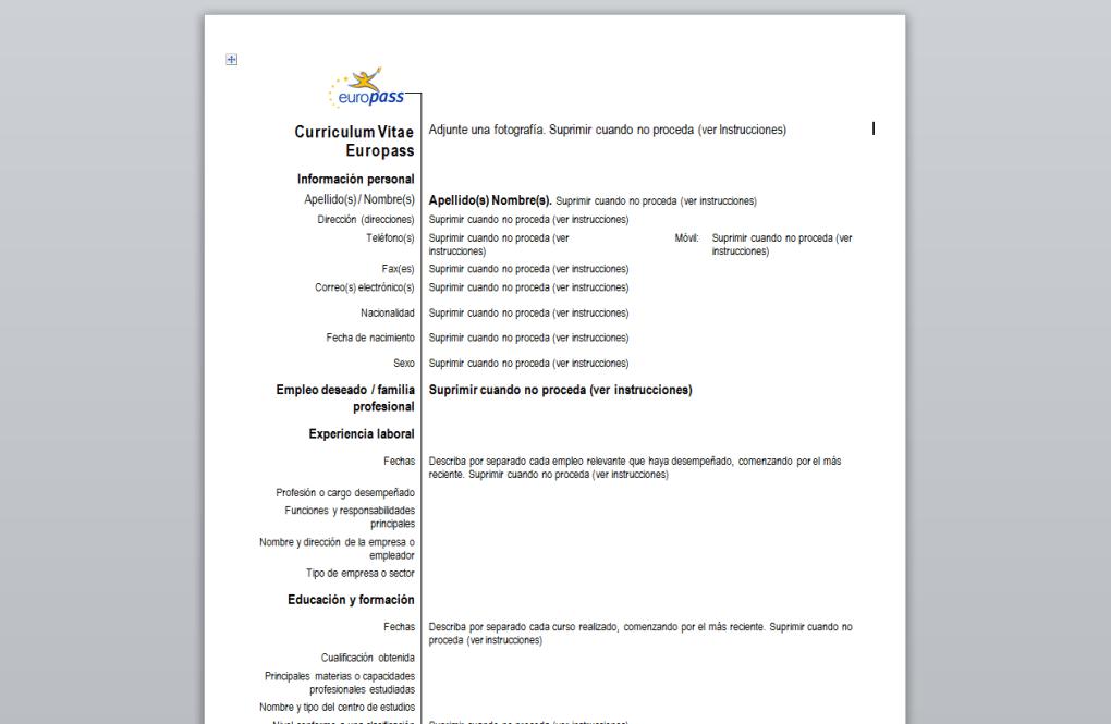 Curriculum Vitae Europeo Descargar