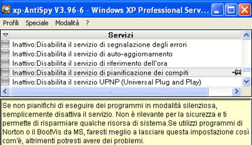 xp antispy italiano