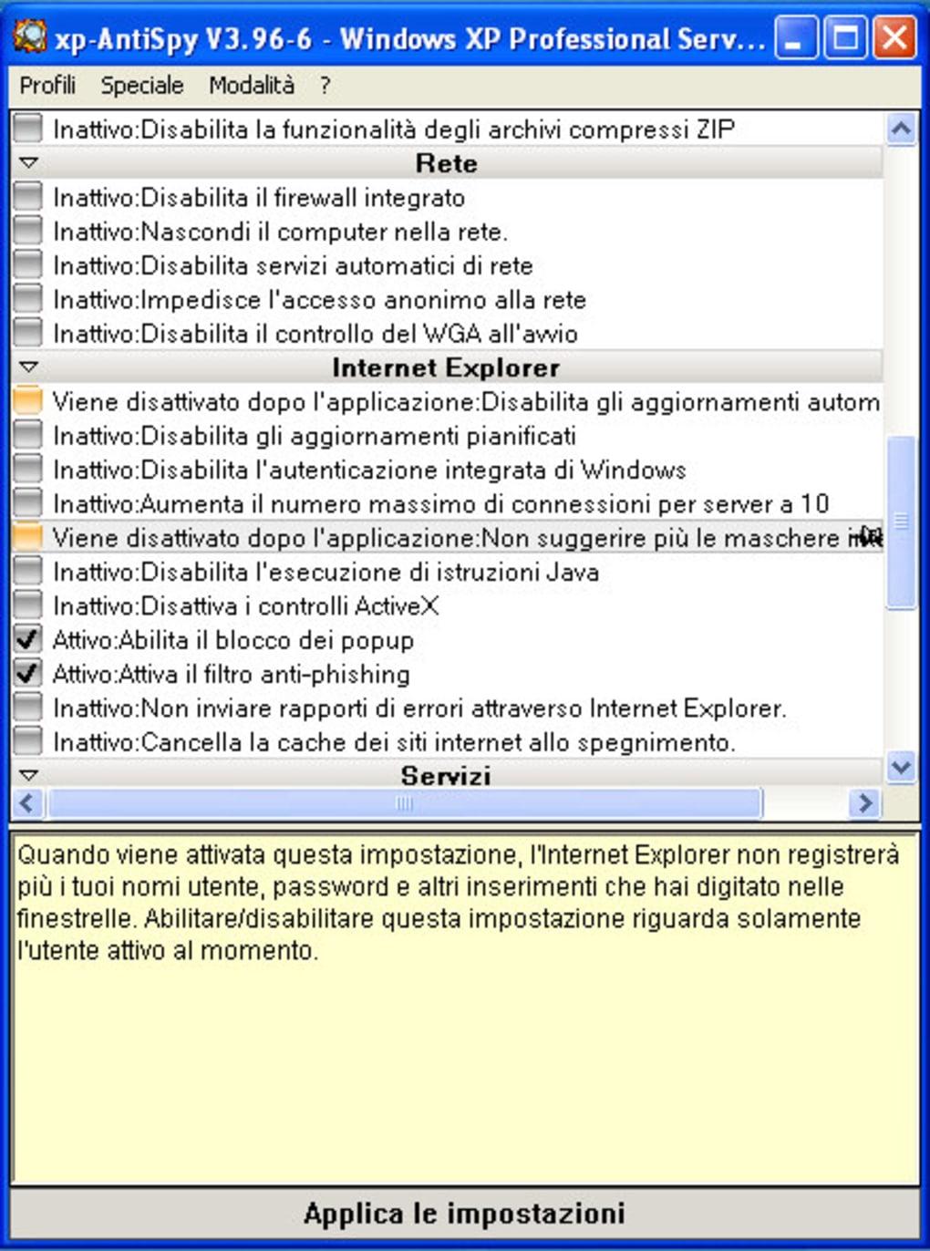 xp antispy italiano