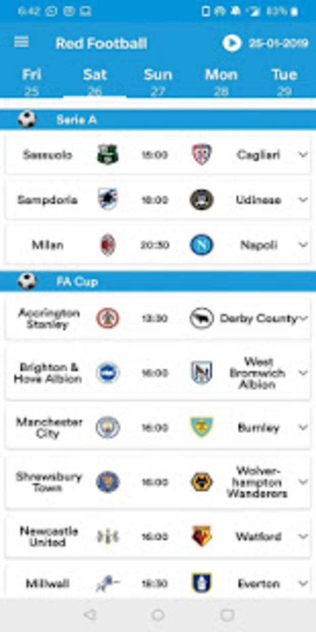 RedFoot: Live Football for Android - Download
