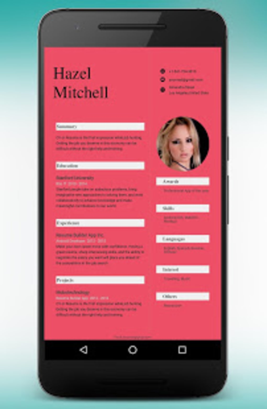 CV Maker Resume Builder PDF Template