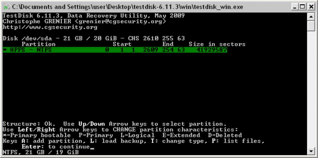 testdisk pour windows 7