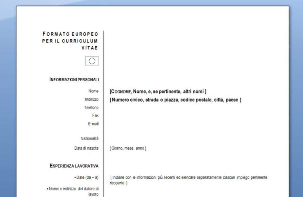 Curriculum Vitae Europeo Per Mac Download