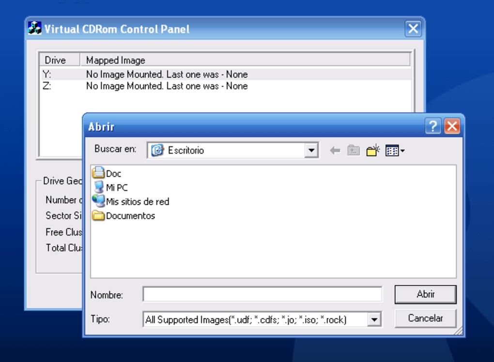 win xp virtual cd control panel