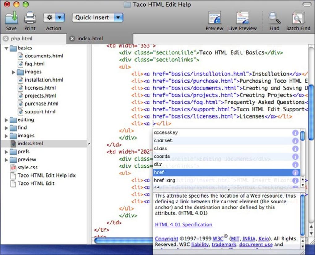 Taco HTML Edit für Mac   Download