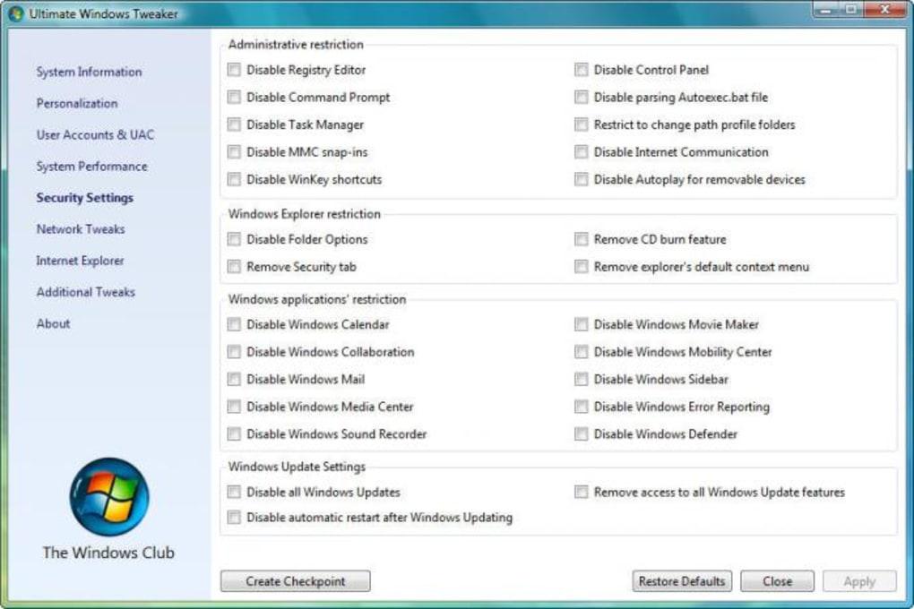 Ultimate Windows Tweaker (Windows) - Download