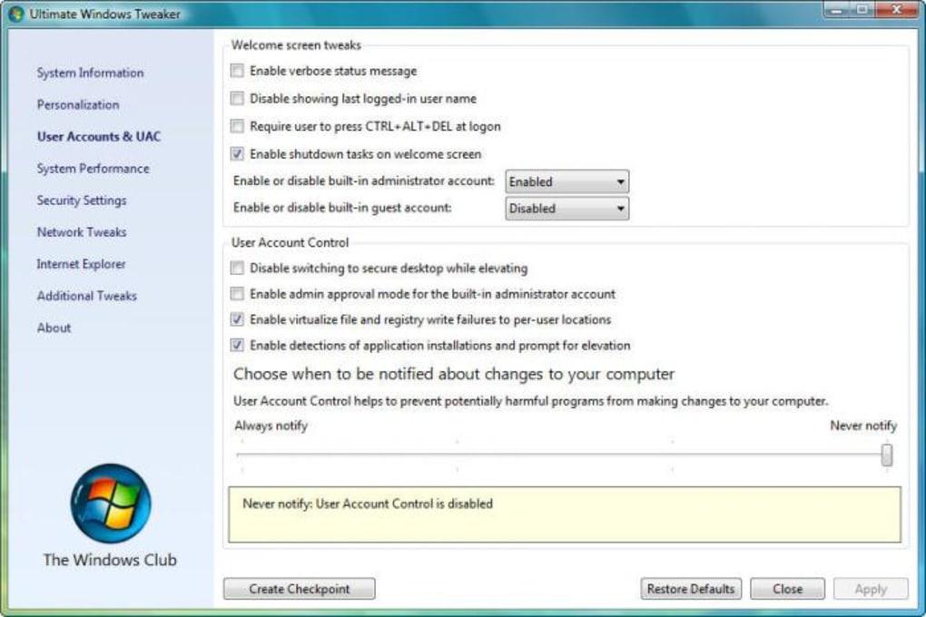ultimate windows tweaker win 7 download