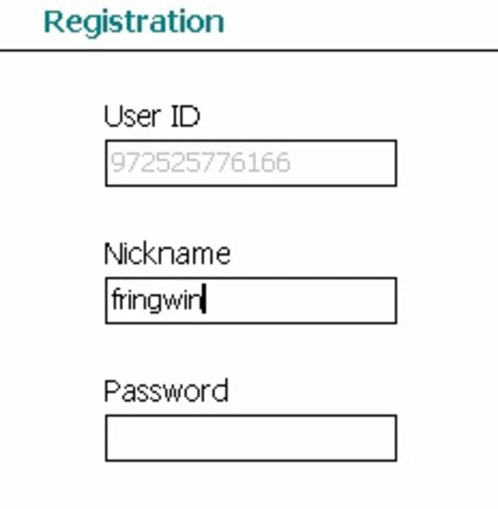 Fring register new account