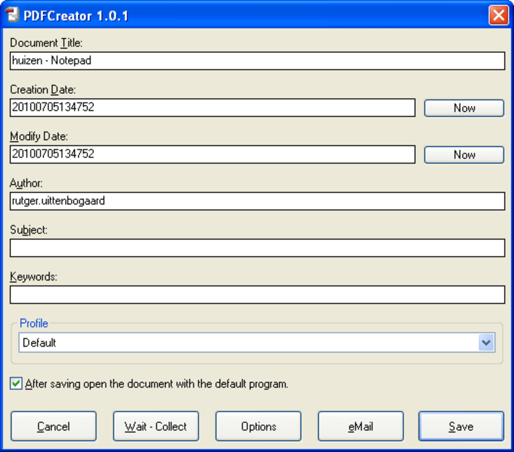 Convert a file to PDF using PDFMaker