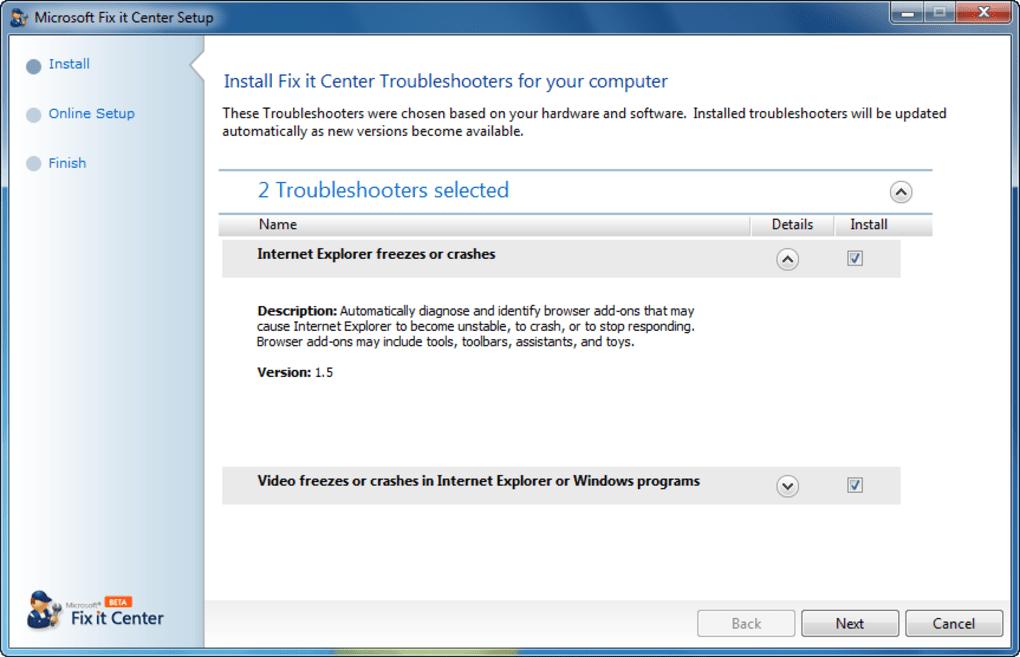 Microsoft Fix It Center Download