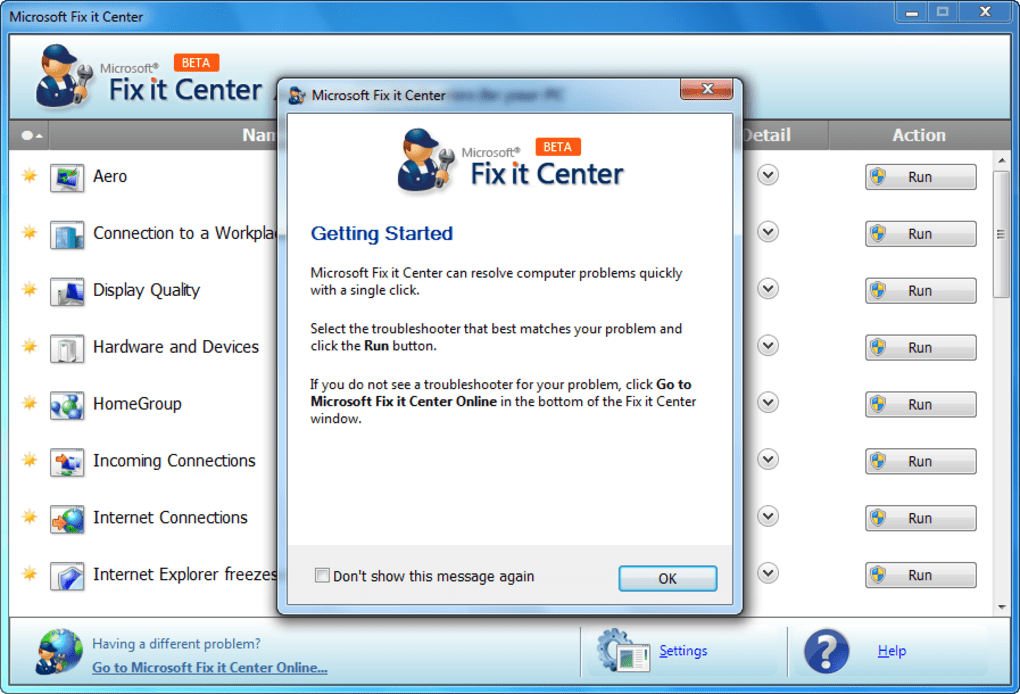 Microsoft Fix It Center - Download