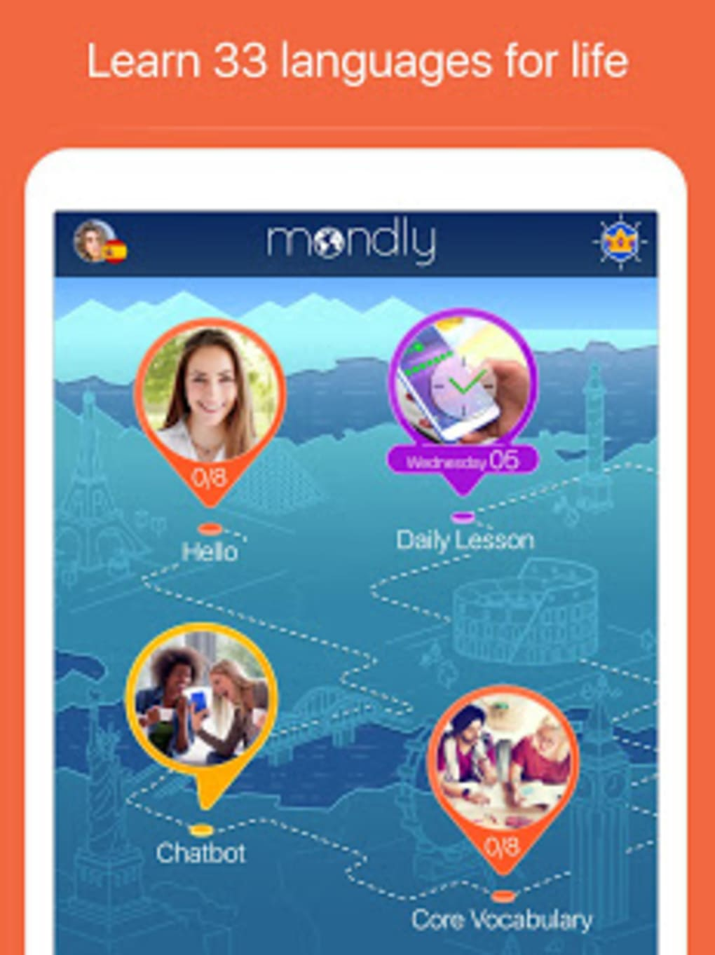 Learn 33 Languages Free Mondly for Android - Download