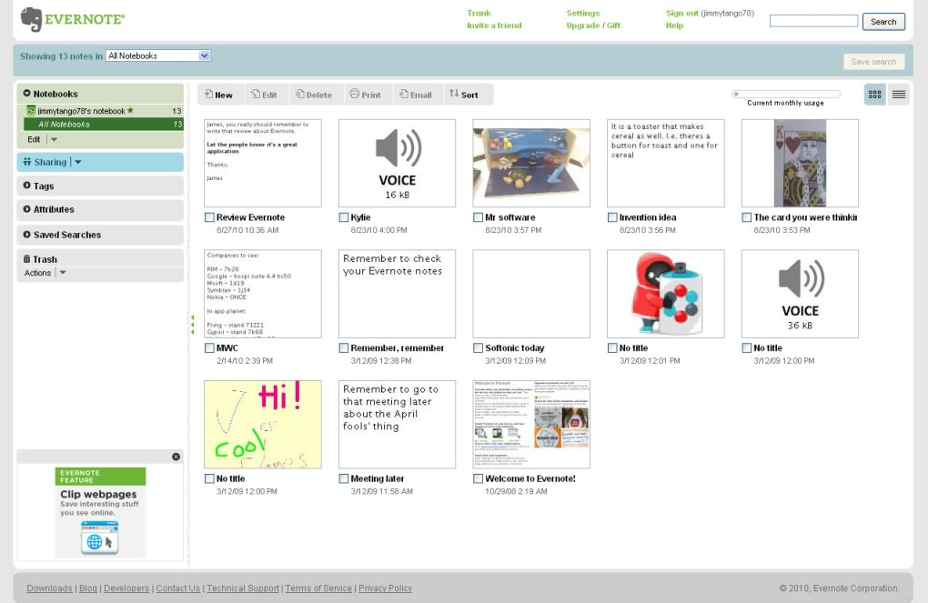 EverNote for Web Apps