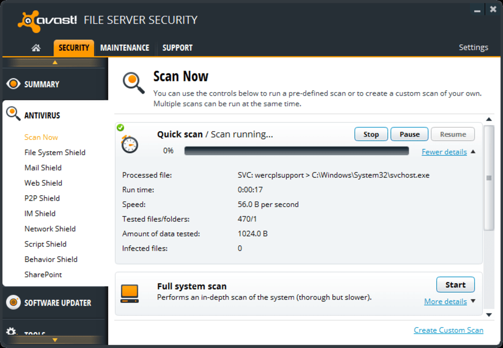 avast scan report file location