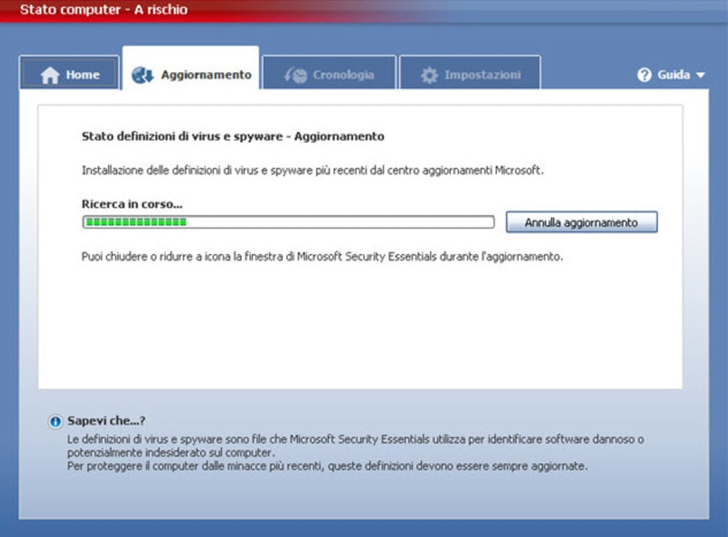 definizioni microsoft security essentials