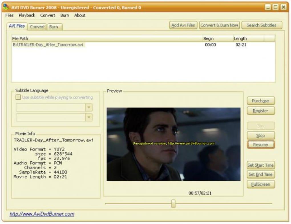 burn avi files to dvd free software