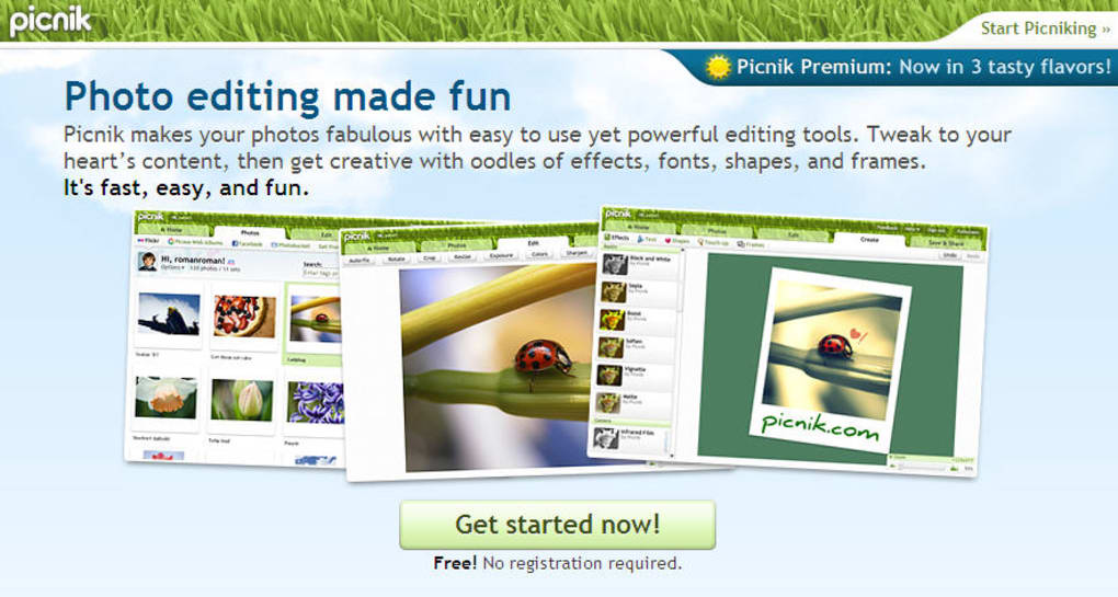 An easy, attractive online photo editor. Picnik
