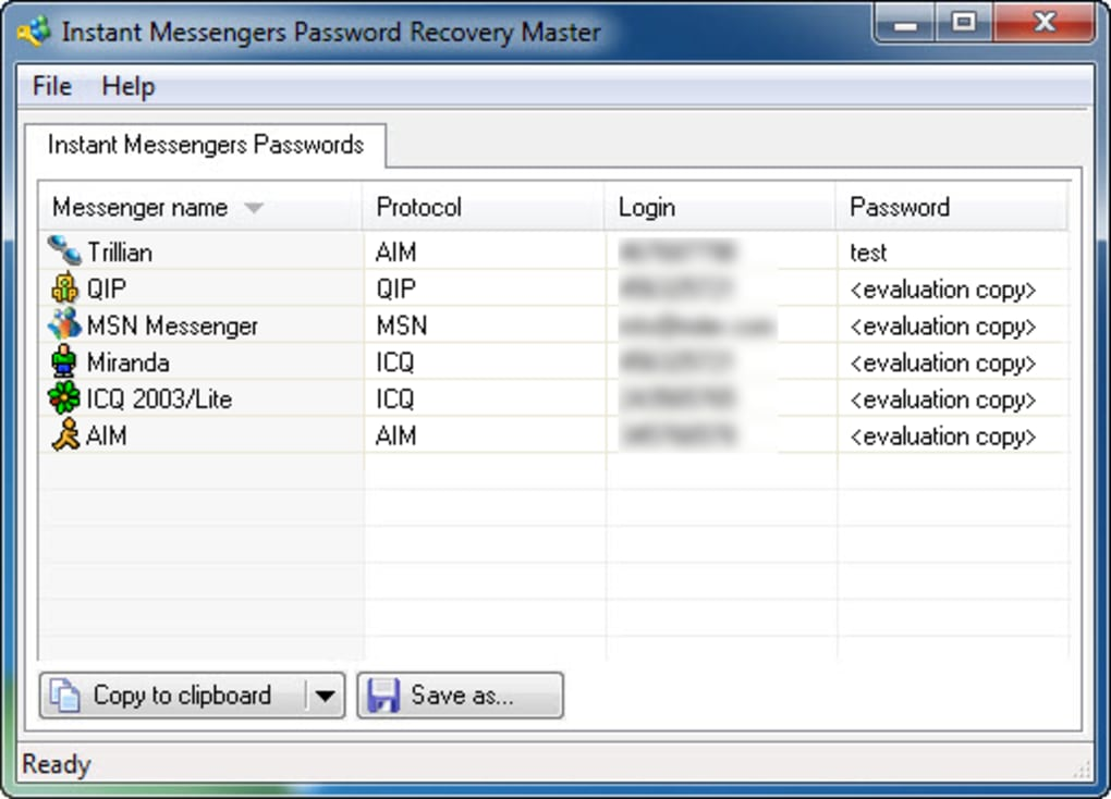 Instant Messengers Password Recovery Master - Download