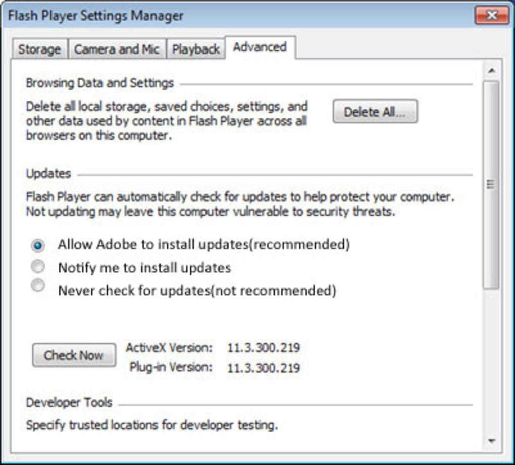 adobe flash player 10.1.85 in italiano da