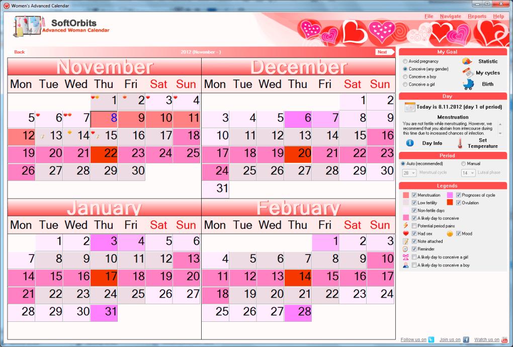 Menstrual Cycle Calendar.Advanced Woman Calendar Download