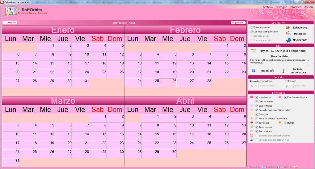 Dias Fertiles Mujer Calendario.Calendario De Ovulacion Descargar