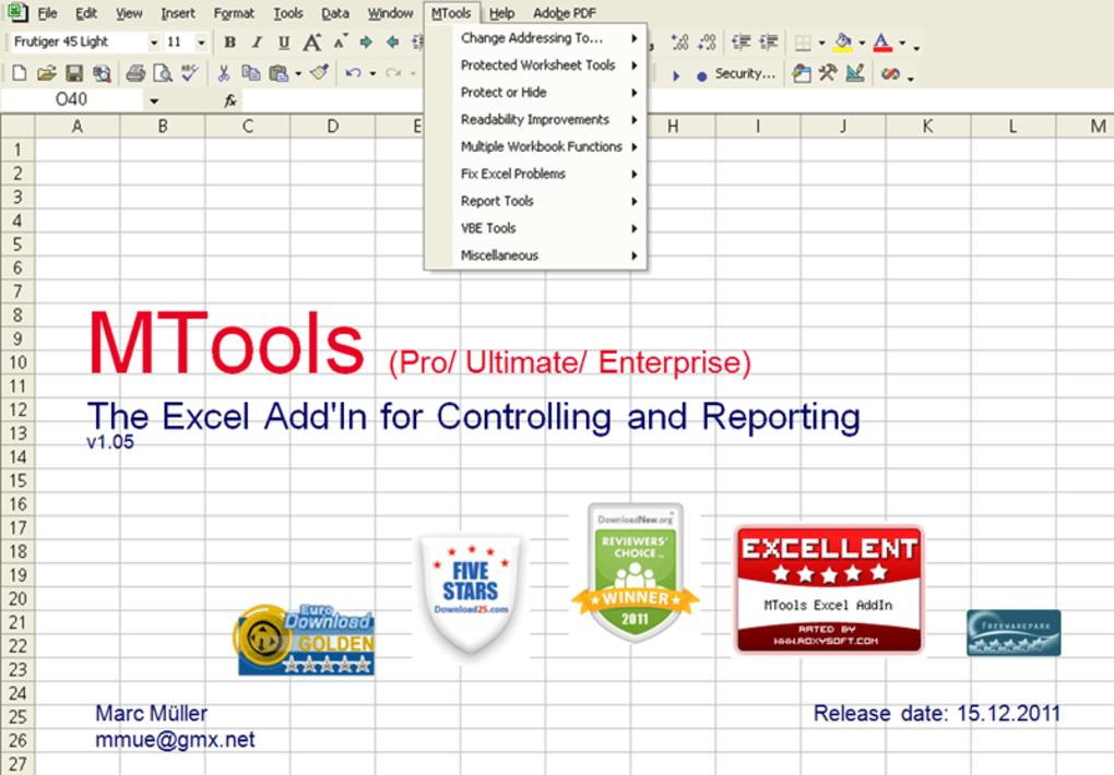 MTools Enterprise Excel Tools - Download