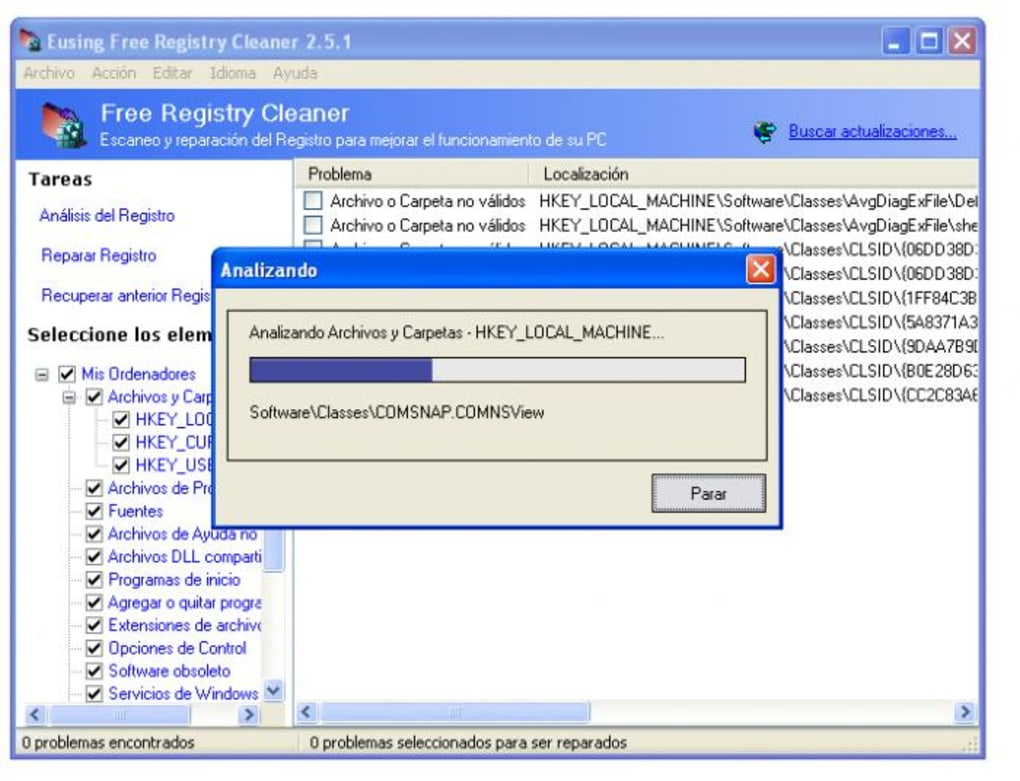 eusing free registry cleaner italiano