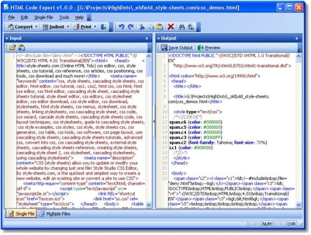 HTML Code Export Download