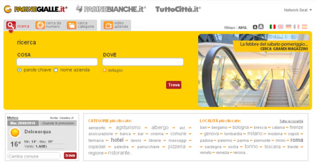 database pagine gialle