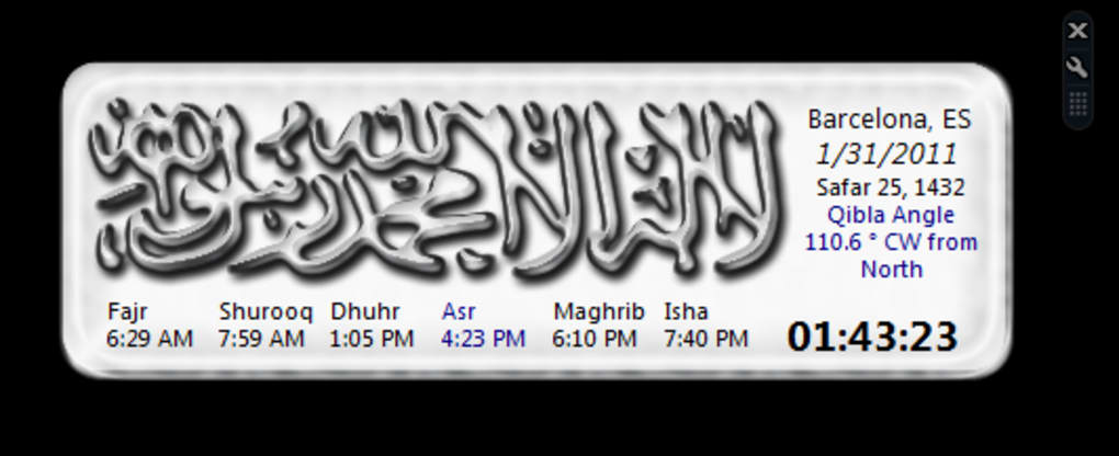 Islamic Prayer Times Windows Sidebar Gadget (Windows) - Download