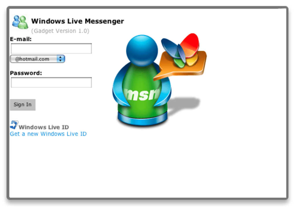 Window live messenger hotmail sign in  Microsoft account
