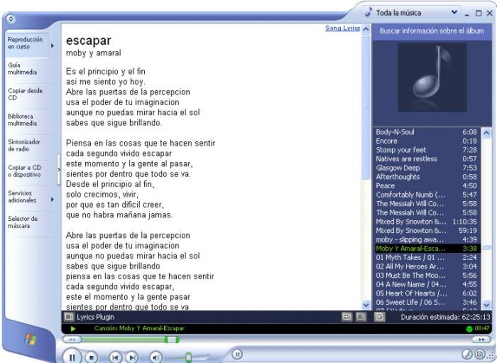 Lyrics plugin for windows media player (windows) download.