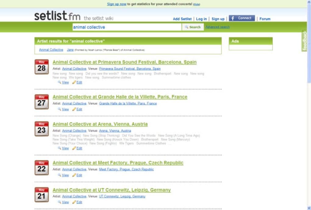 Setlist.fm Online