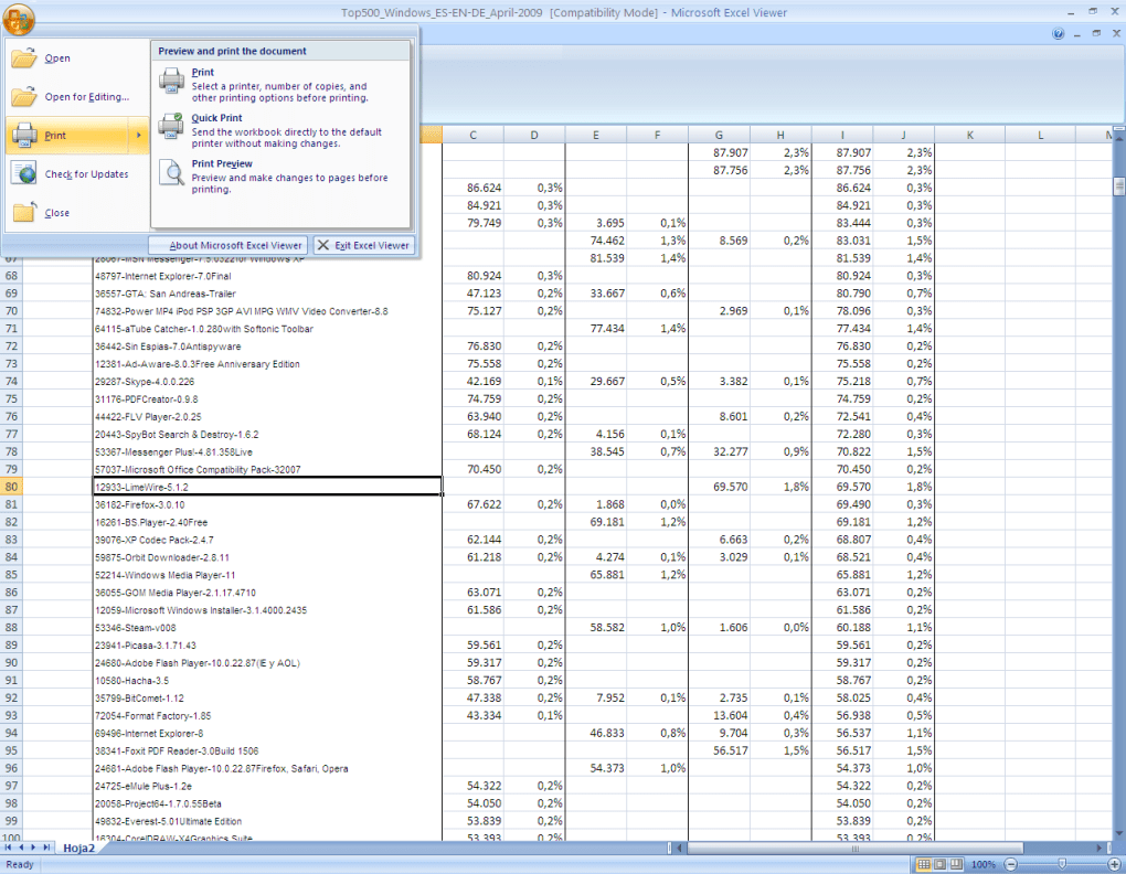 Microsoft Excel Viewer - Download