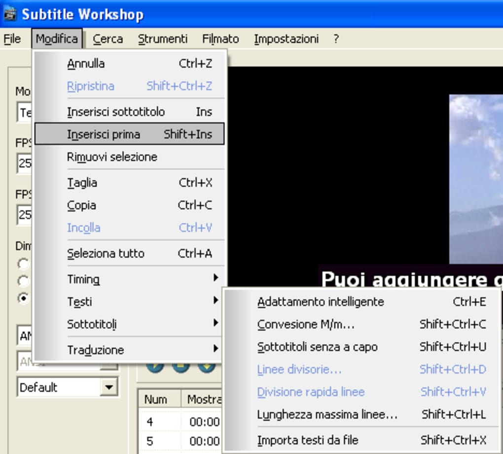subtitle workshop italiano