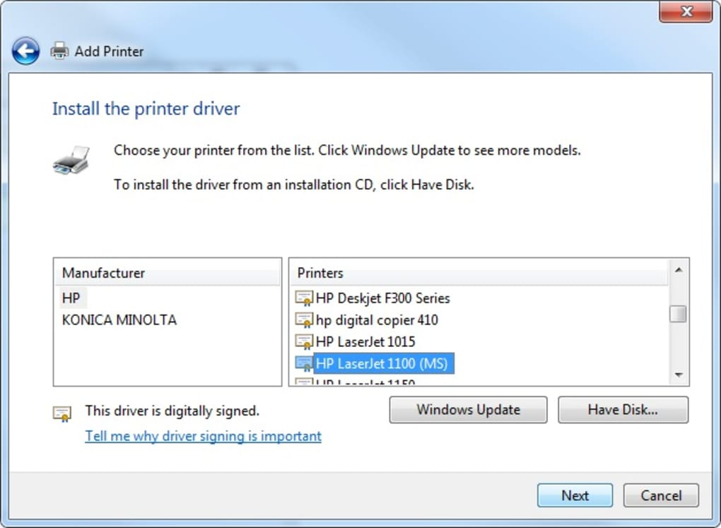 pilote hp laserjet 1320 pour windows 7 64 bits