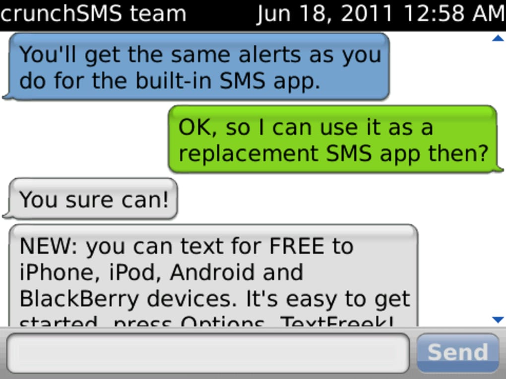 crunch sms blackberry curve 8520 gratuit