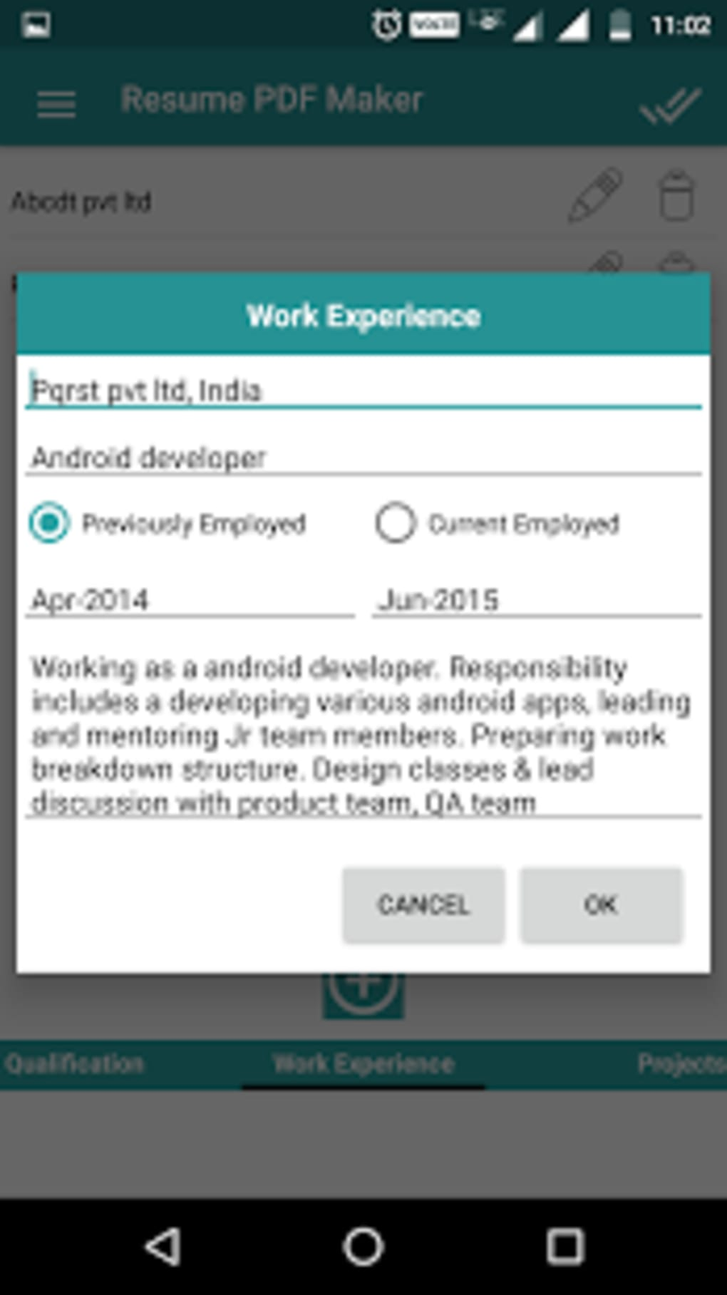 resume pdf maker    cv builder for android