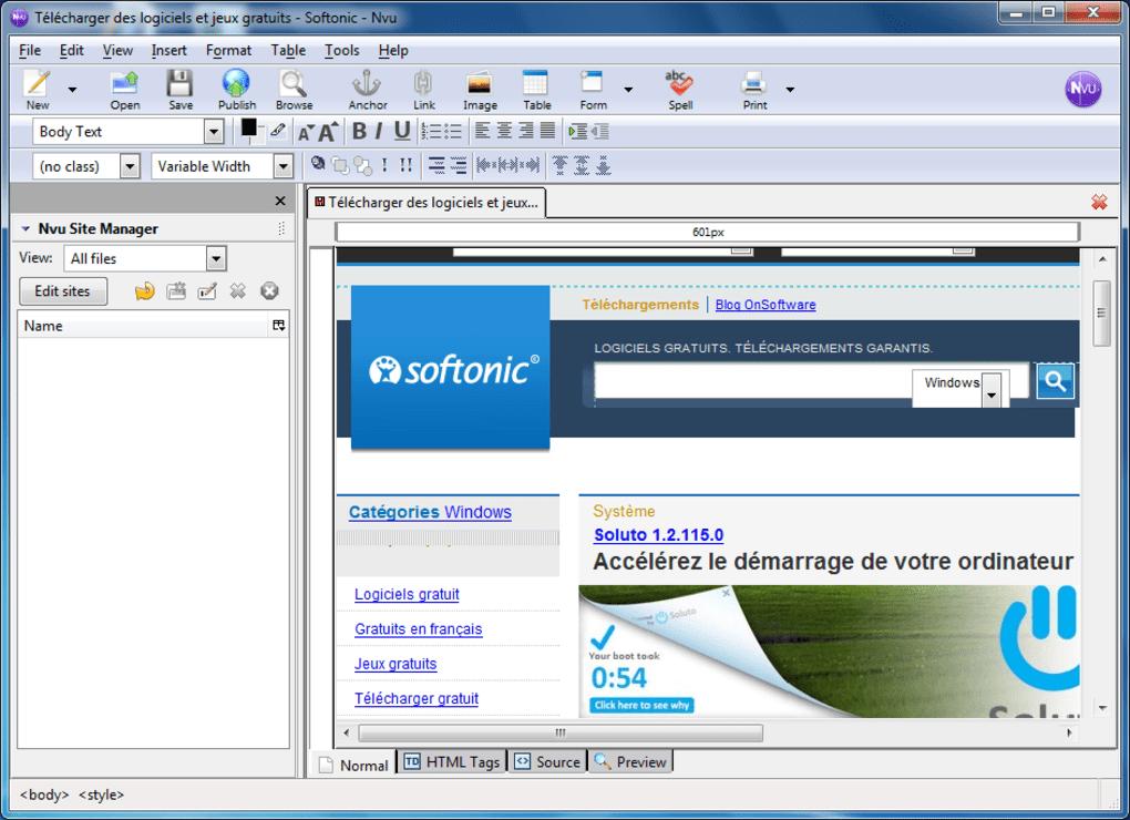 le logiciel nvu en français