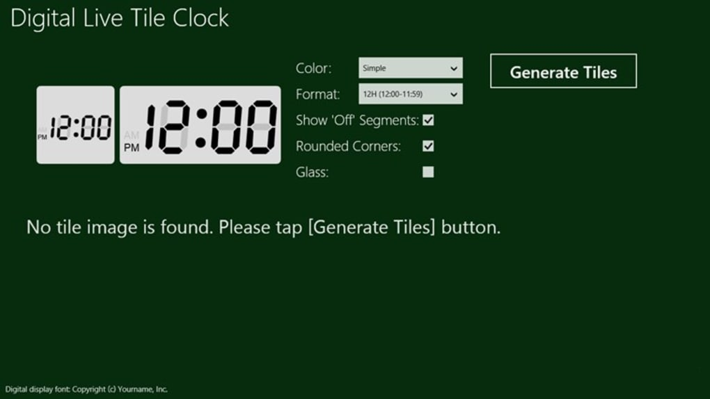 Digital Live Tile Clock for Windows 10 (Windows) - Download