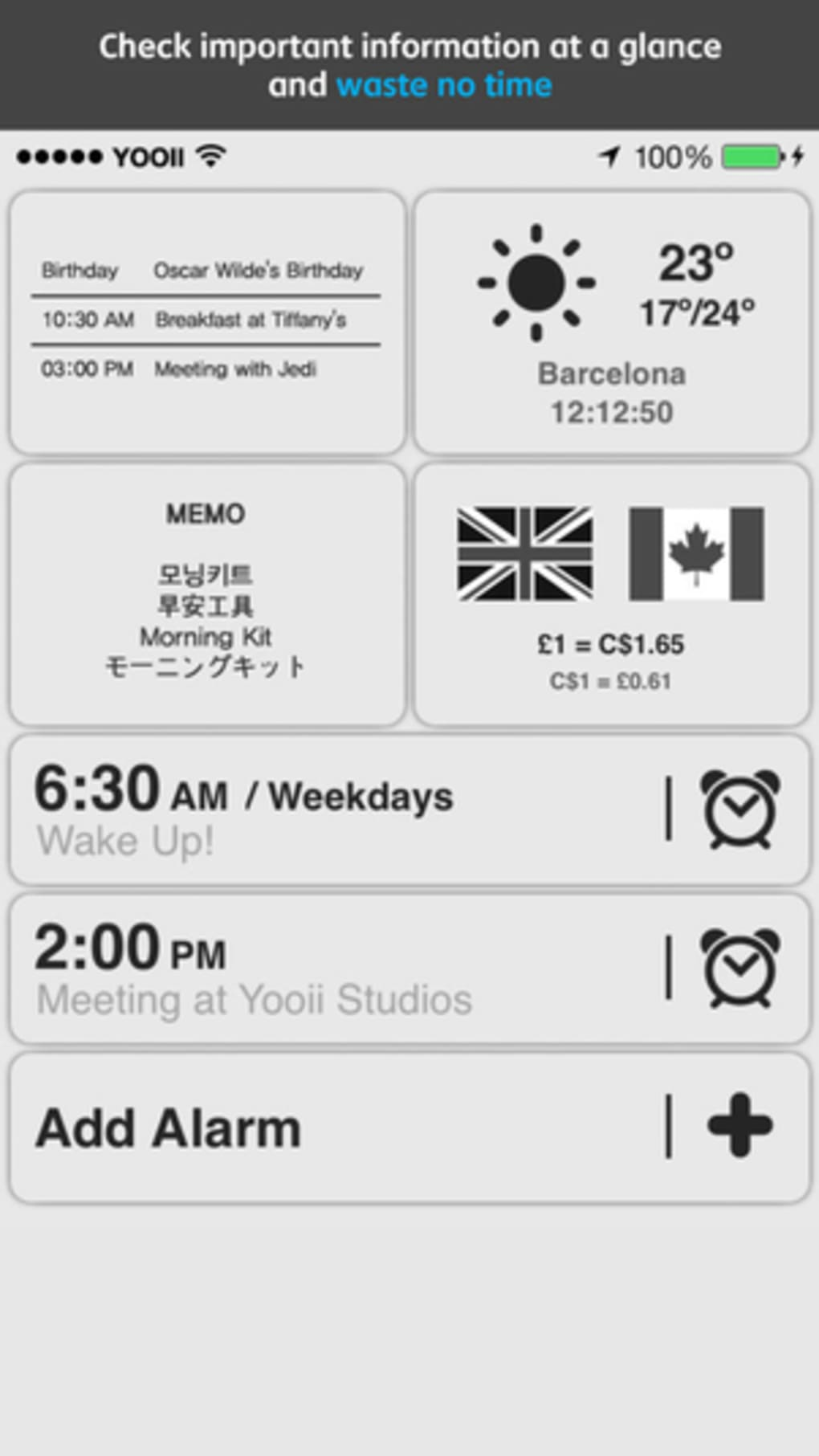 Morning Kit (Alarms & Info Widgets) for iPhone - Download