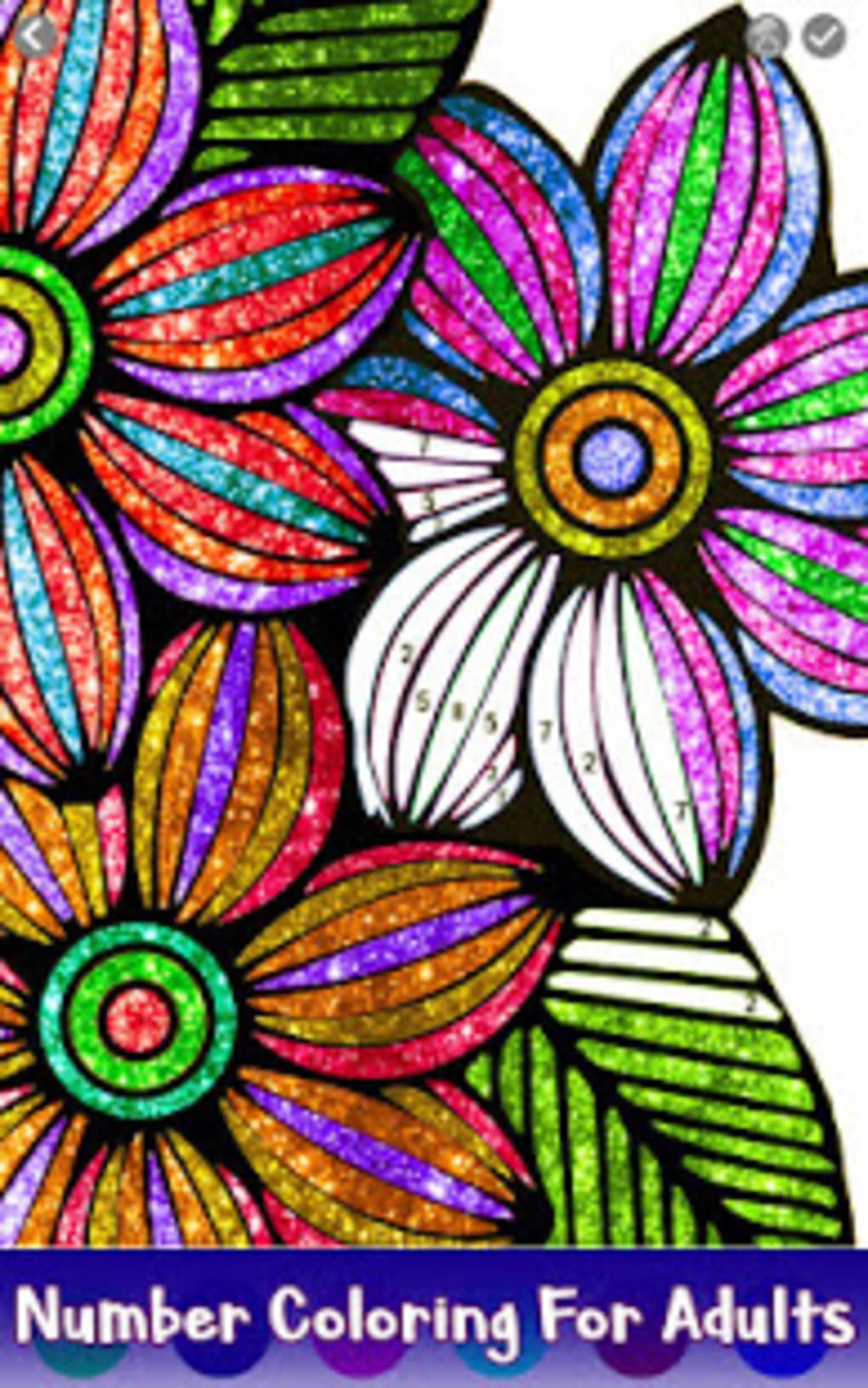 Flowers Glitter Color by Number Paint by Numbers for Android ...