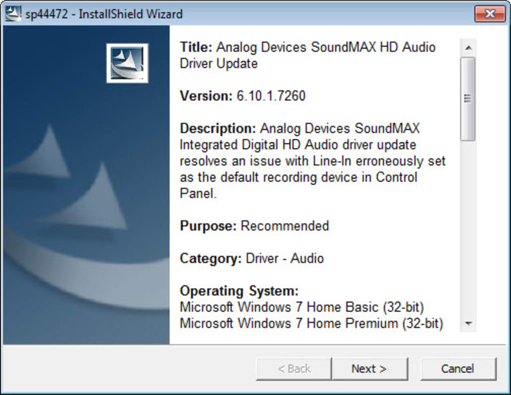 pilote soundmax integrated digital audio driver windows 7