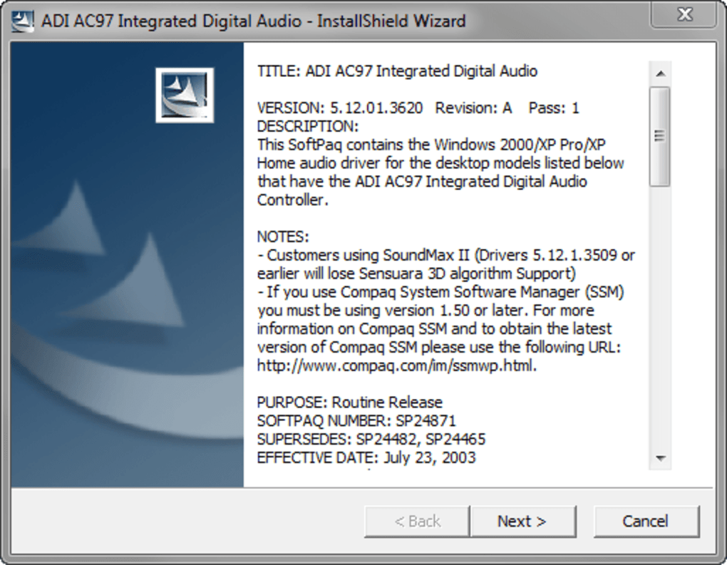 et installer driver carte son soundmax