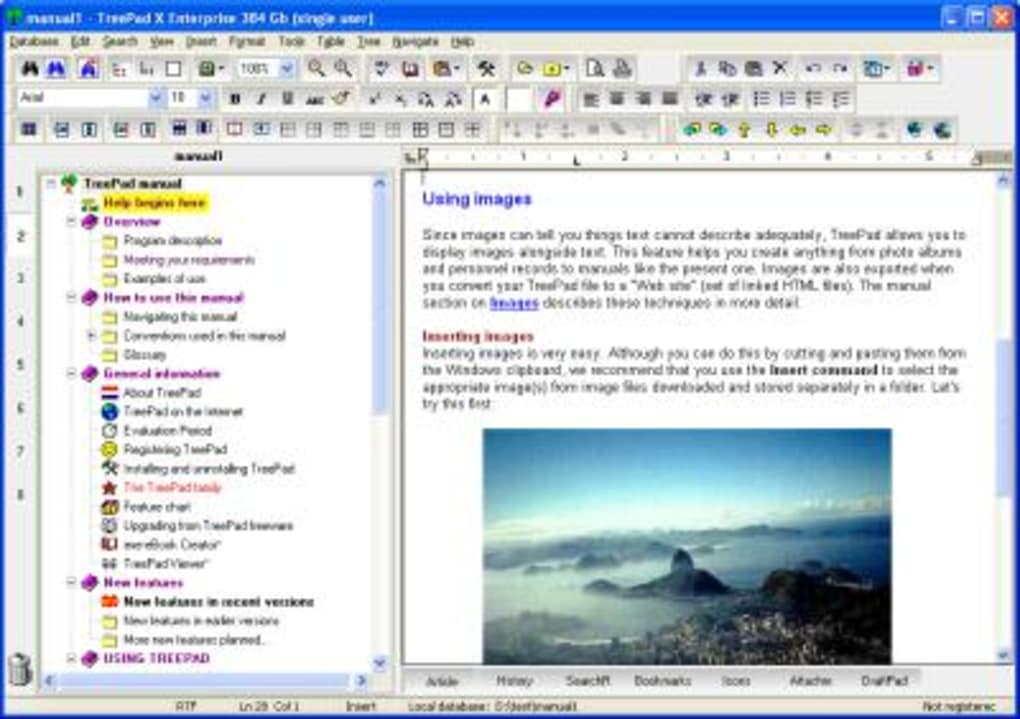 Treepad 8.1 review Tree-style outliner starts showing its age