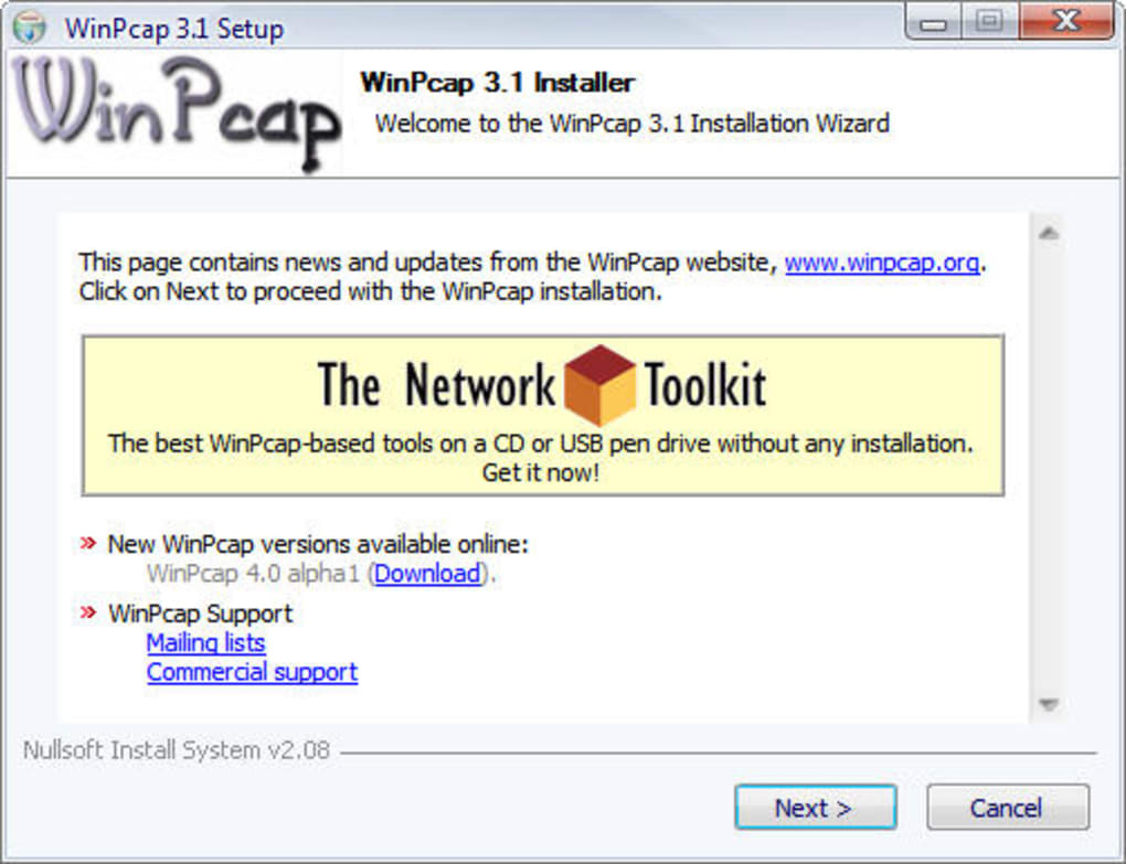 winpcap windows 7