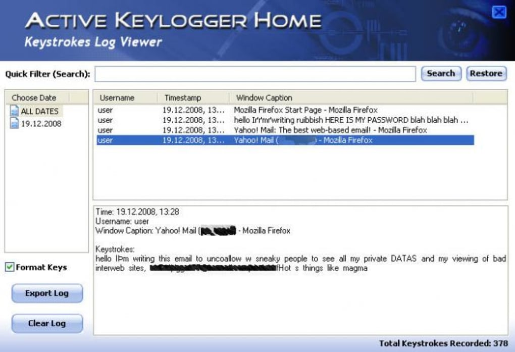 Active Keylogger Home - Download 1/5 Screenshots