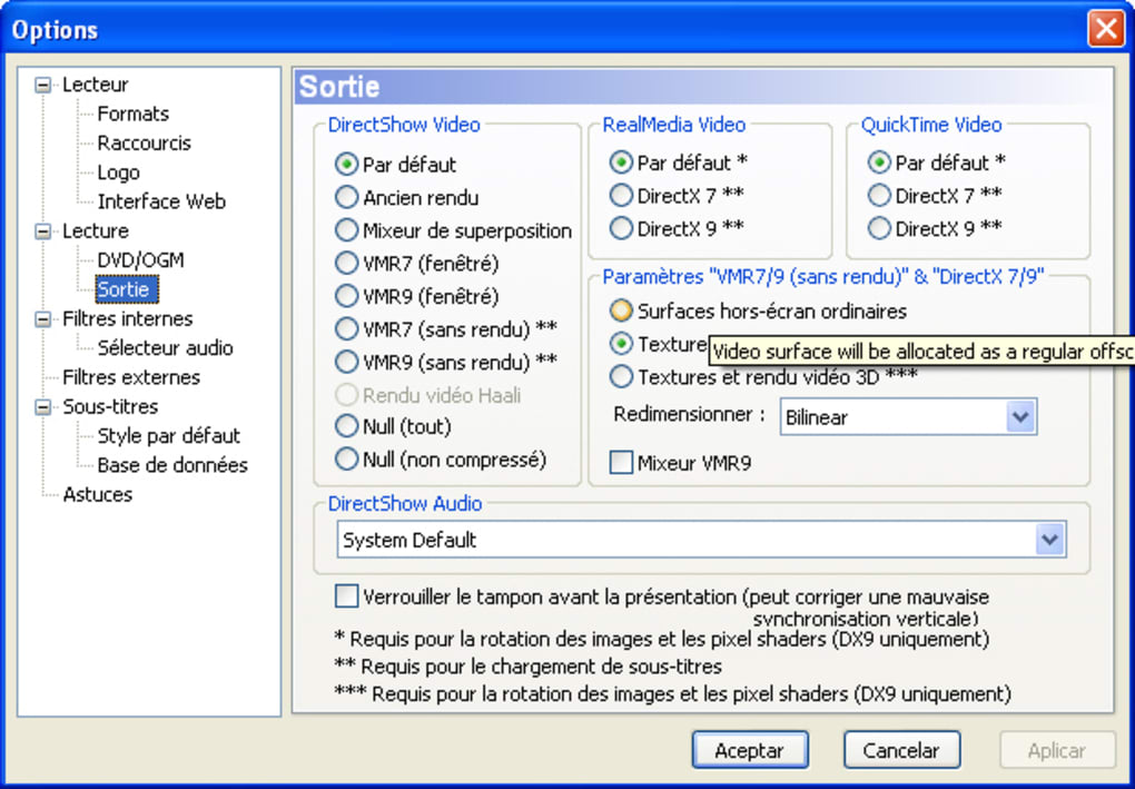 gratuitement directshow player