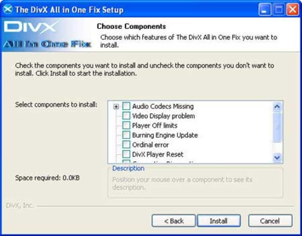 Download divx player (with divx codec) for 2k/xp 6. 2.