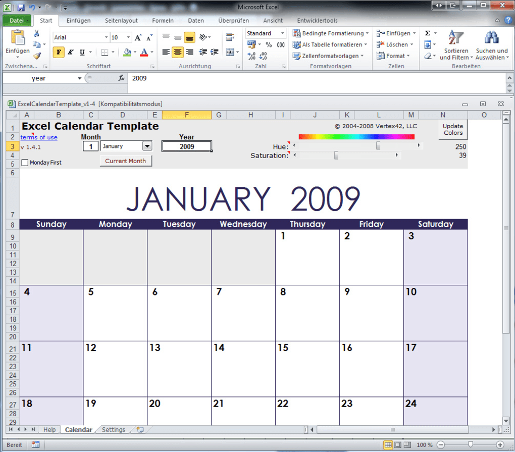 Excel Kalender Vorlage - Download